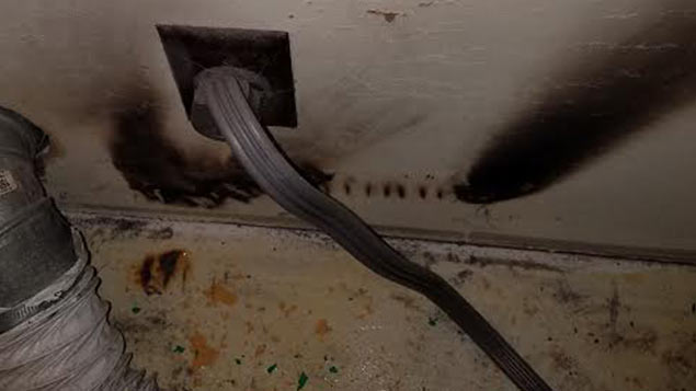 Dryer Vent connector combusted due to low air flow